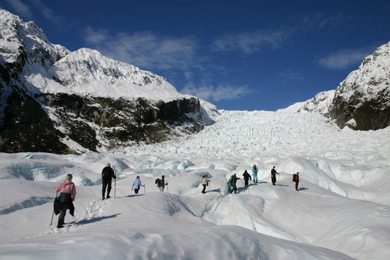 Hikers at Fox Glacier, South Island, New Zealand