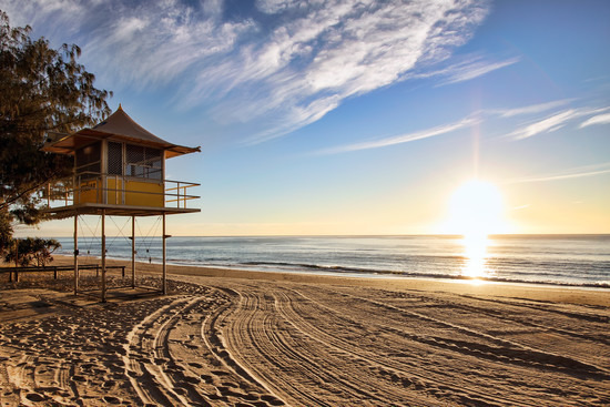Gold Coast Beach, Lifeguard Tower, Queensland, Australia