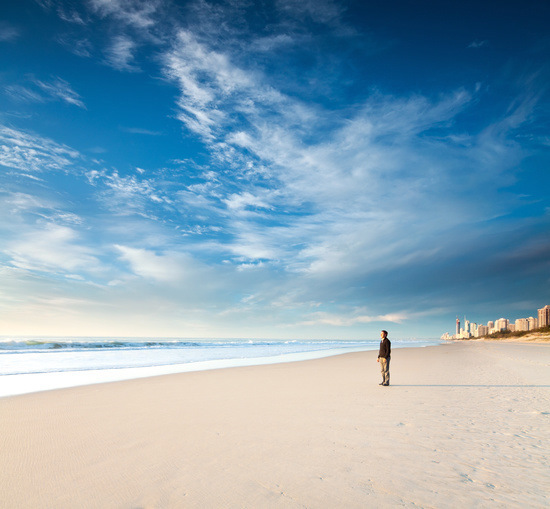 Man on Gold Coast Beach, Queensland, Australia