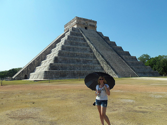 Me in front of El Castillo at Chichen Itza. ©Alexandra Gregg/Brad Cronin