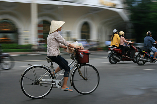 Bicycles and motorbikes are more common than cars in Vietnam
