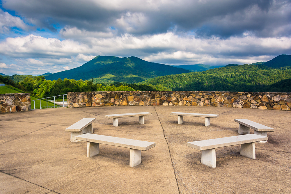 Benches and views of the Appalachian Mountains from Bald Mountain Ridge scenic overlook along I-26 in Tennessee.-RS