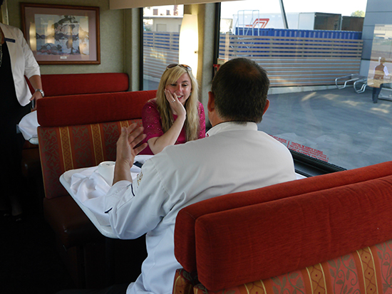 Alex interviewing Chef JP on the Rocky Mountaineer (Image: Bradley Cronin)