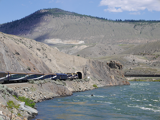The Rocky Mountaineer as it goes through David