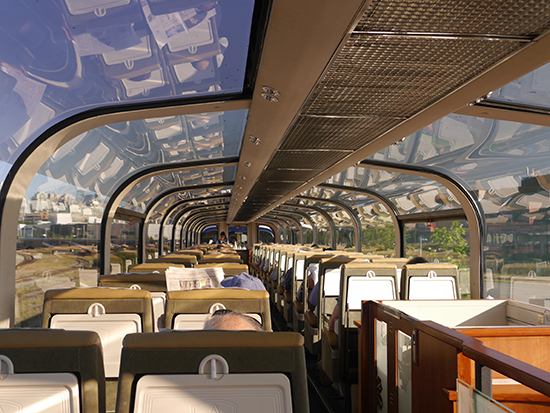 Inside the Rocky Mountaineer Golf Leaf service with its glass dome roof (Image: Alexandra Gregg)