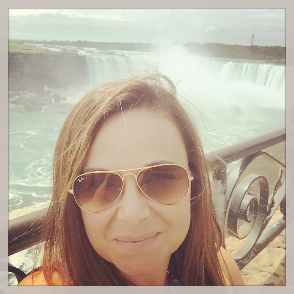 Woman with Niagara Falls in the background