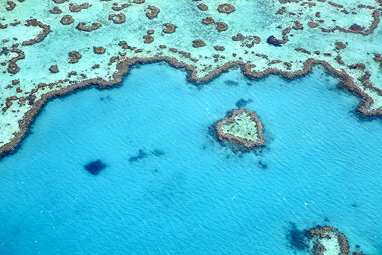 Aerial view of Heart Reef on Great Barrier Reef near Whitsunday Islands (Image: Matt Munro/Lonely Planet images)
