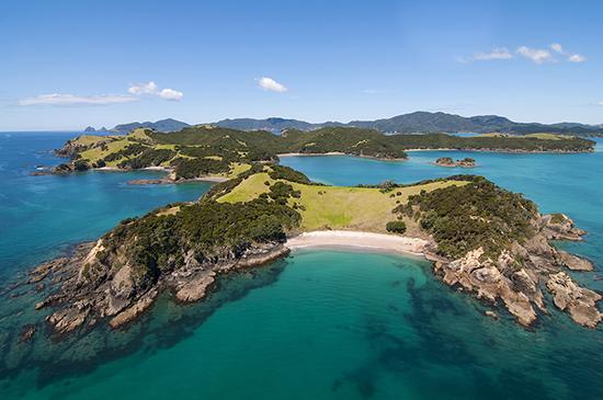 Aerial shot of Urapukapuka Island, in New Zealand