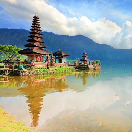 RS 8 Pura Ulun Danu temple on a lake Beratan. Bali