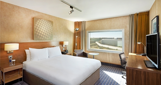 A guest room at Hilton London Heathrow Airport
