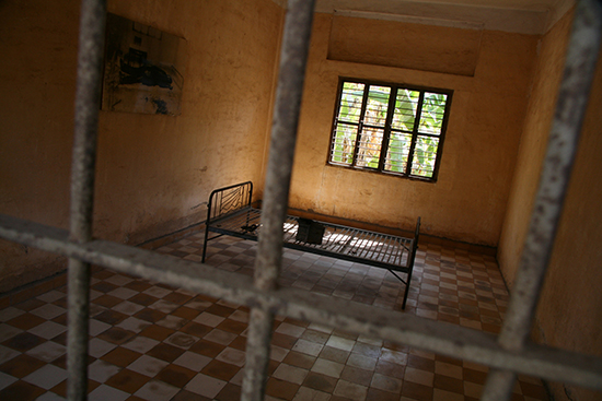 A cell in the Tuol Sleng Museum, Phnom Penh