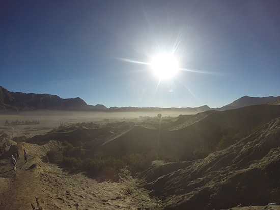 The sun rises above the Bromo Tengger Semeru National Park (Image: Emma Brisdion)