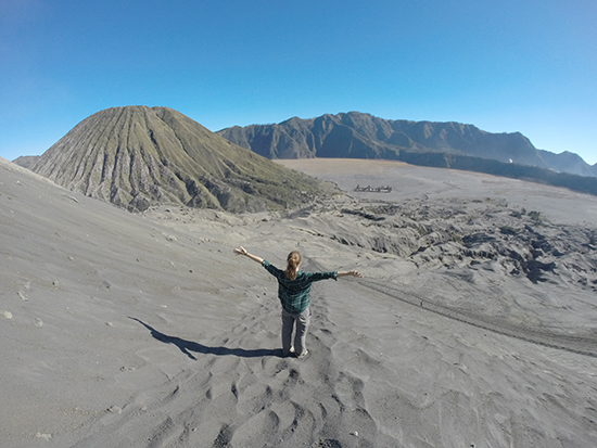 Emma traversing the Bromo Tengger Semeru National Park (Image: Emma Brisdion)