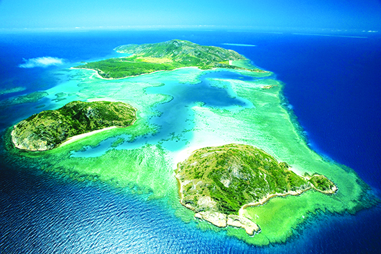 An aerial view of Lizard Island