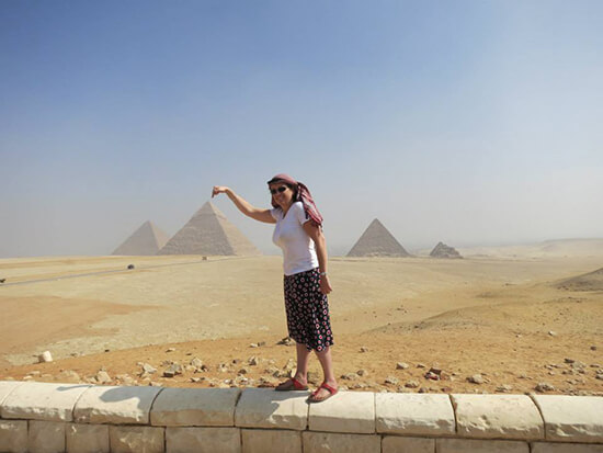Becky in front of the Giza Pyramid Complex, Egypt (Image: Becky Greaves)