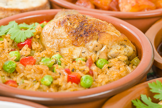 Paella and chicken in Puerto Rico
