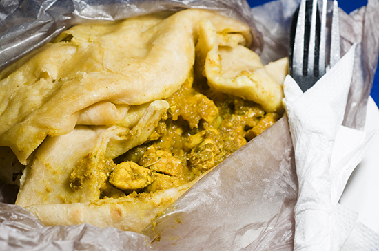 Fresh roti from the Port of Spain in Trinidad