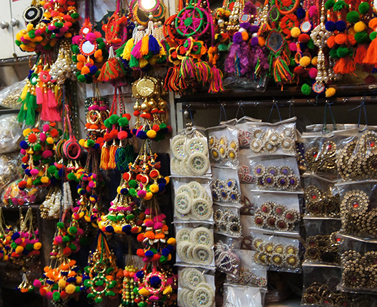 A colourful stall in Old Delhi