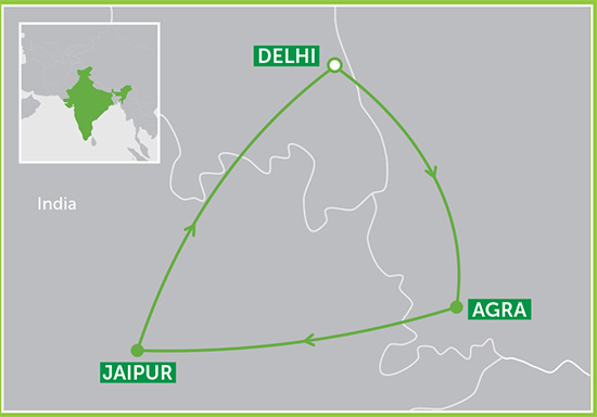 The Golden Triangle route as followed by our Dreams of Taj Journey itinerary