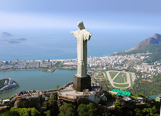 RS Aerial view of Christ the Redeemer in Rio De Janeiro, Brazil
