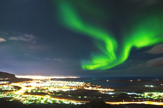 Northern Lights over Reykjavik
