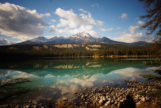 Pyramid Lake and Mountain, near Jasper, Canada