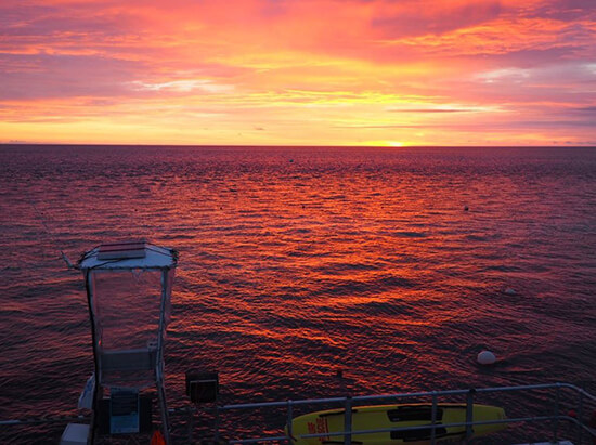 Sunset on the ReefSleep pontoon (Image: Jayne Gorman)