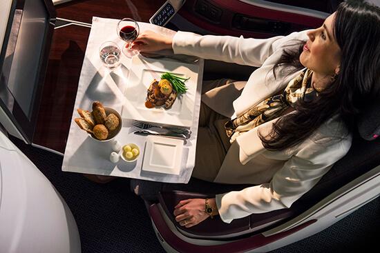 Qatar Airways Business Class dining