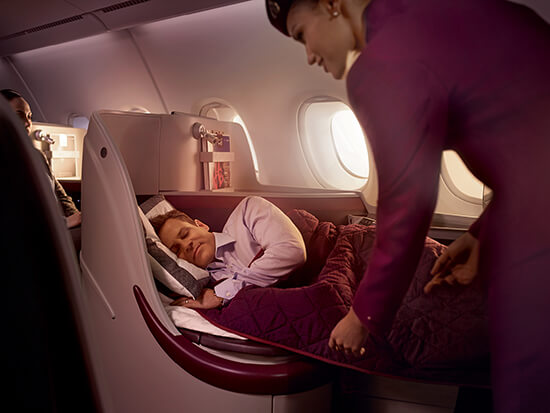 Qatar Airways Business Class fully-flat bed