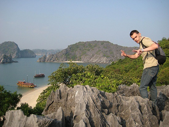 David climbing Monkey Island's rocks