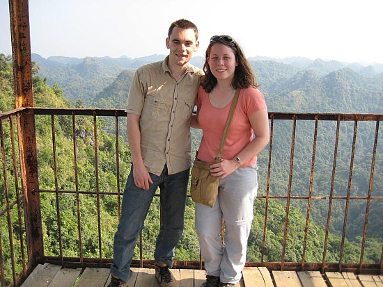 Us at the top of Cat Ba Island's lookout tower (image: Angela Griffin)