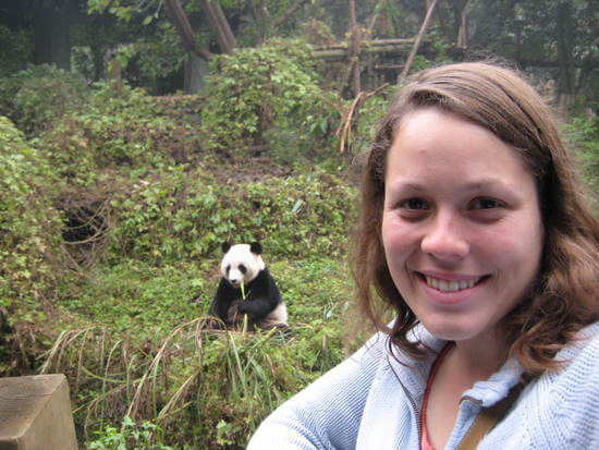 Angela and a giant panda (Image: Angela Griffin)