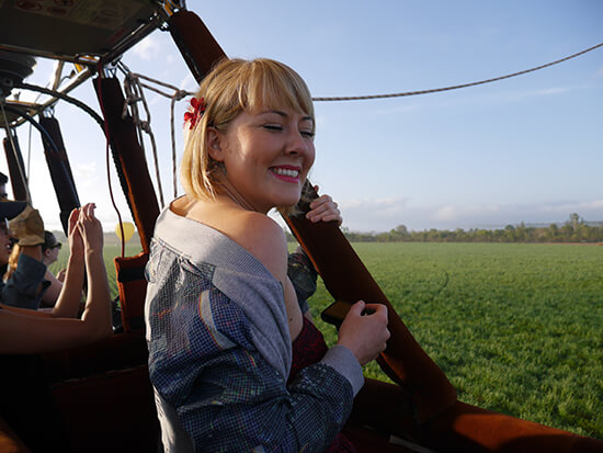 Mel in a hot-air balloon over the Atherton Tablelands