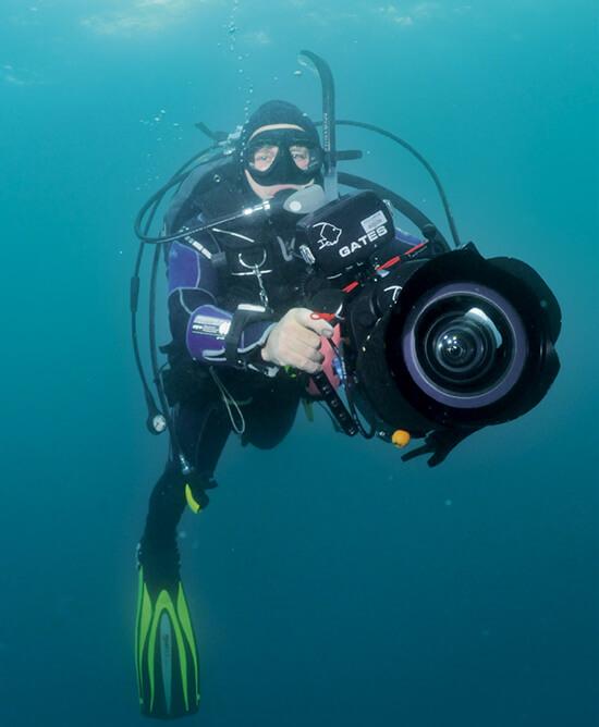 Monty filming cetaceans underwater