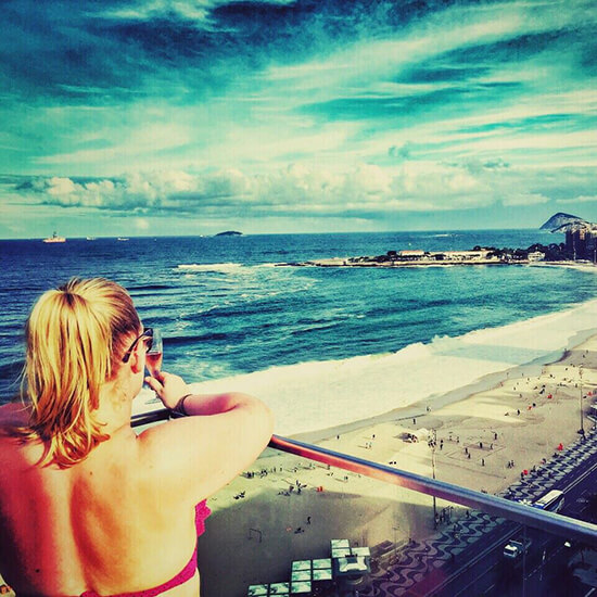 Vicky at Copacabana Beach, Rio, Brazil (Image: Vicky Farrell)