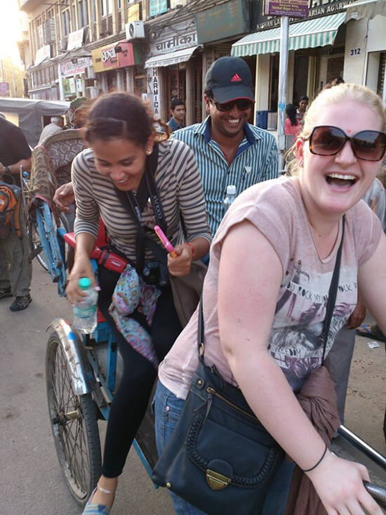 Vicky riding a rickshaw in Jaipur (Image: Vicky Farrell)
