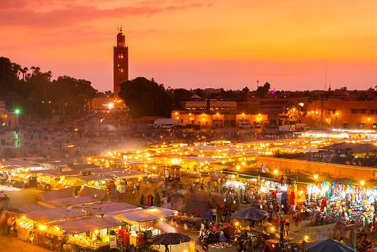 Jemaa el Fna, the UNESCO-listed market in Marrakech