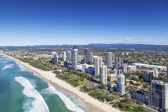 An aerial view of Broadbeach