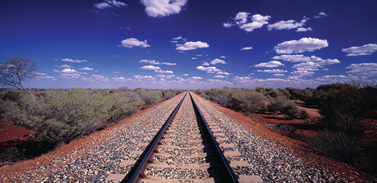 The Ghan railway tracks