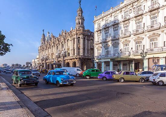 Multi-coloured cars in Havana