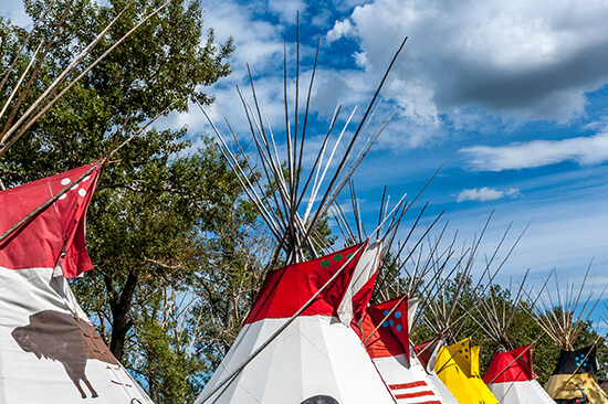 An Indian tipi display at Calgary Stampede