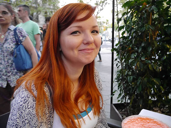 Kirsten eating out in Barcelona - luckily the strawberry daiquiris are vegan friendly!