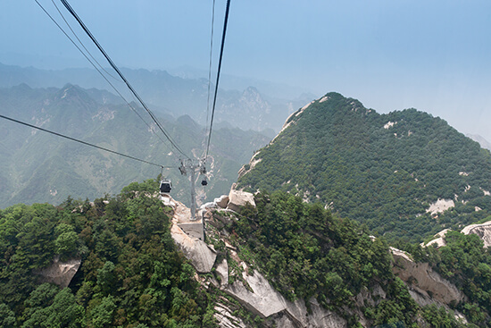 The cable car over Mount Hua, China