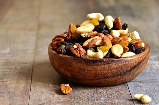 Take snacks, like nuts