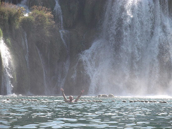 James in the waterfalls of Krka National Park, Croatia