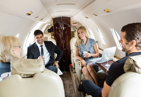 Different style of private jet interior