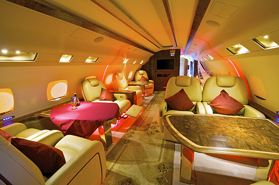 Private jet luxury interior