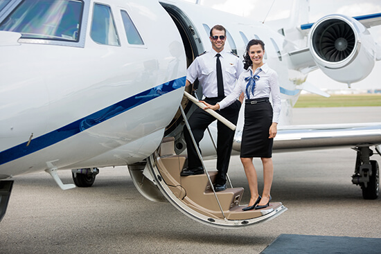 Private jet hostess and pilot