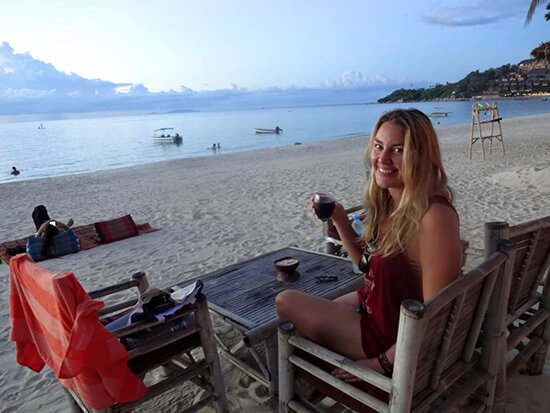 Suzannah drinking wine in Ko Phangnan