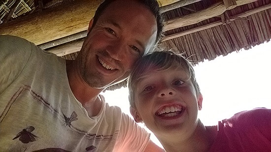 Chris and son Ed in Tanzania (Image: Chris Steel)